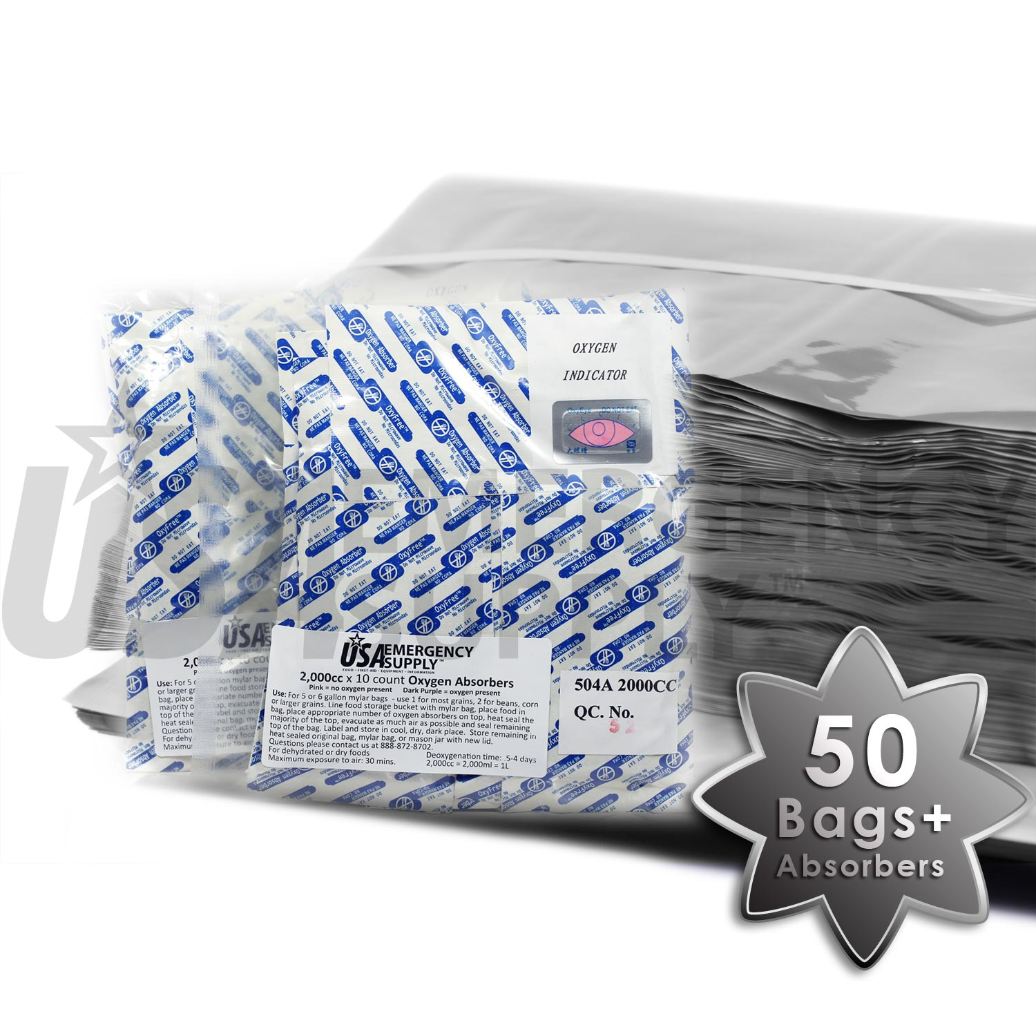 5 Gallon Mylar Food Storage Bags And Oxygen Absorbers 50