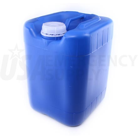 Water Drum - Five (5) Gallon - Blue Poly Rectangular Stackable - Sampson