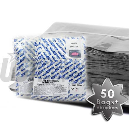 Mylar Food Storage Bags 20in. x 30in. and Oxygen Absorbers 2000cc - 50 pack