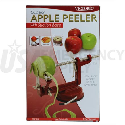 Back to Basics Peelers - Peel Away(tm) Apple Peeler - Red with Cast Iron Suction Base