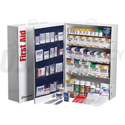 5 Shelf Industrial First Aid Station, w/22 Pocket Liner - 200+ Person