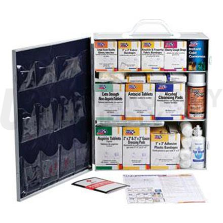 3 Shelf Industrial First Aid Station, w/12 Pocket Liner - 100 Person
