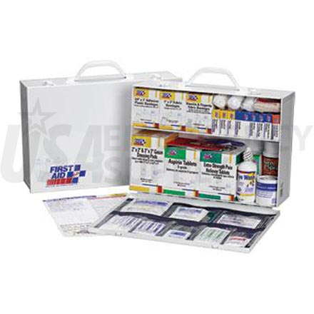 2 Shelf Industrial First Aid Station, w/8 Pocket Liner - 75 Person
