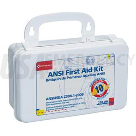 Unitized First Aid Kit, ANSI - 10 Unit Plastic case w/Gasket