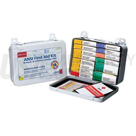 Unitized First Aid Kit, ANSI - 16 Unit Metal case w/Gasket